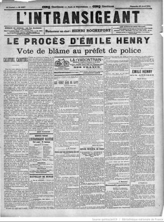 'L'Intransigeant', April 29, 1894